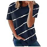 Camiseta de manga corta para mujer, estilo informal, a rayas, para verano, holgada, de algodón, talla grande