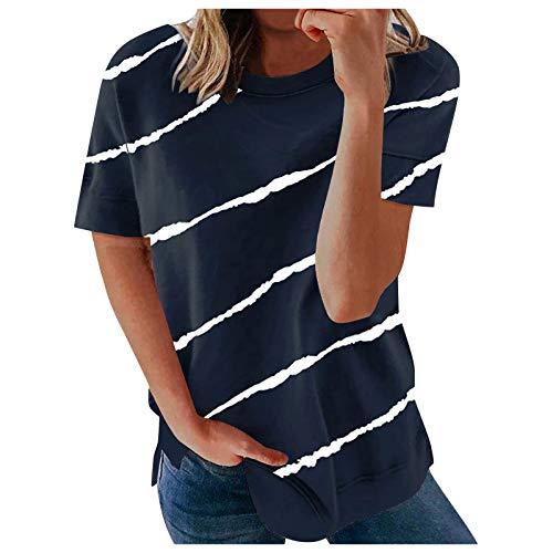 Damen Kurzarm T-Shirt Leopard Patchwork Casual Streifen Sommer Lose Tunika Tee Tops Shirt Rundhals Shirt Hemd Bluse Oversize Oberteile Bluse Tshirt Tops Teenager Mädchen Basic T-Shirt