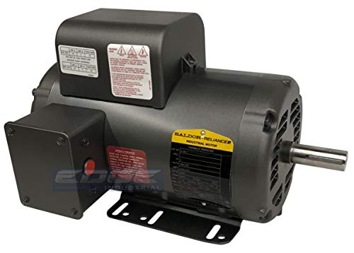 BALDOR 5HP AIR COMPRESSOR ELECTRIC MOTOR, 56HZ FRAME, 3450RPM, 208/230V, SINGLE-PHASE, 7/8' SHAFT, 1.15 SERVICE FACTOR MADE IN USA