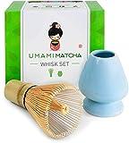 Umami Matcha Whisk Set | Matcha Bamboo Whisk (Chasen) & Blue Ceramic Matcha Whisk Holder | 100 Tine Matcha Tea Wisk & Stand | Ceremonial Matcha Tea Set | Starter Matcha Kit For Japanese Tea Ceremony