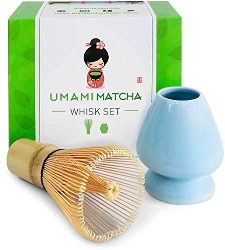 Umami Matcha Whisk Set   Matcha Bamboo Whisk (Chasen) & Blue Ceramic Matcha Whisk Holder   100 Tine Matcha Tea Wisk & Stand   Ceremonial Matcha Tea Set   Starter Matcha Kit For Japanese Tea Ceremony