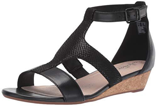 Clarks Women's Abigail Lily Wedge Sandal, black leather/suede, 7.5 M US