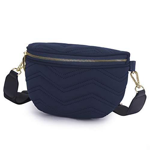 Wind Took Umhängetasche Damen Bauchtasche Gürteltasche Kleine Tasche Schultertasche Mode Brusttasche Sporttasche für Party Reise Outdoor, Blau