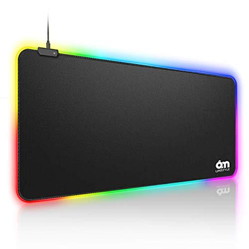6amLifestyle Alfombrilla de Ratón Ordenador Gaming RGB Grande XXL 800*300*4,0 mm Ergonomica y LED Optico Alimentado por USB, 10 Modos de Iluminación, Base de Goma Antideslizante [Garantía de 12 Meses]
