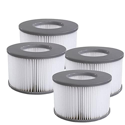 Miweba MSpa Whirlpool Ersatz Filter Filterkartusche 4er Pack für aufblasbare Pools - Modelle ab 2020 - Delight - Premium - Elite - Concept (4X Wasserfilter Modell ab 2020)