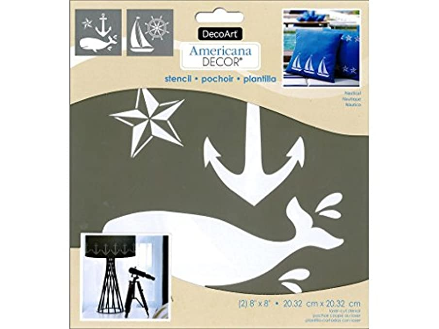 DecoArt DECADS-K.209 Decor Stencil 8x8 Nautical Americana Decor Stencil 8x8 Nautical