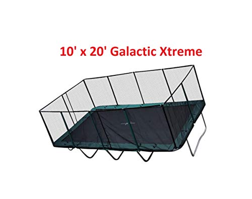 Image of Happy Trampoline - Galactic Xtreme Gymnastic Rectangle Trampoline with Net Enclosure - High Performance & Safety Features Commercial Grade I Life-time warranty, 550 lbs Jumping Capacity, 10 X 20 Ft