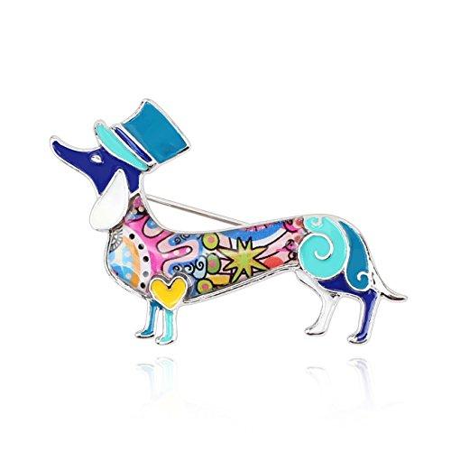 BONSNY Dachshund Brooch Sausage Dog Heeler Charm Women Girls Unique Handcrafted (Blue)