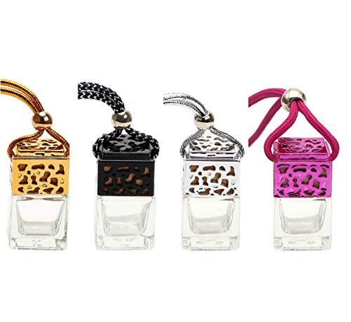 4 Pcs 8ml Car Hanging Perfume Diffuser,Empty Clear Glass Square Car Air Freshener Essential Oil Fragrance Pendant Bottle Vials With Wooden Caps & Hanging String--FREE 1 Funnel&Dropper