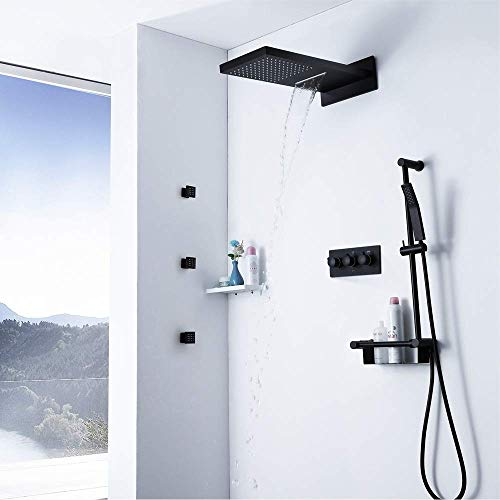 YINGGEXU Juego de ducha Cascada de cobre Top Spray Spray Set Ducha Ducha Negro Cinturón 3 Spray lateral Cuerpo frío y frío Cargando Oscuridad Tipo de pared Sistema de ducha de mano con estante Durable
