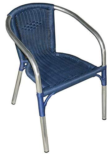 PEGANE Fauteuil empilable en Aluminium Coloris Bleu - Dim : H.75 x L.61 x P.54 cm -A Usage Professionnel