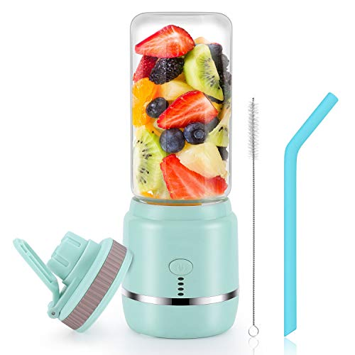 Portable Blender, Personal Blender, Mini Juicer Cup USB Rechargeable and Personal Size Blender Smoothies akes,402ml,Fruit Juice, Mixer (Blue)