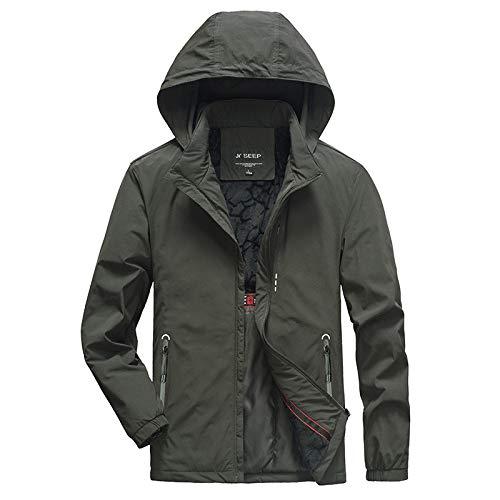 SHUO Regenjacke Herren Light Langarm Jacke Windbreaker Coole Jacke Mit Kapuzen Streetwear Freizeitjacke mit Reißverschluss