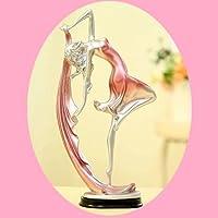 樹脂バレエダンサーガール彫刻ミニチュアの置物天使の妖精のフィギュアデスクの装飾品バレリーナの置物の工芸品 (ピンク)