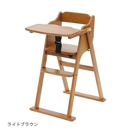 折りたたみSGマーク付きベビーチェアたためるおりたたみハイチェアハイタイプ大和屋キッズチェア折り畳みチェア子供用椅子ダイニングチェア木製ベルト付(ナチュラル)