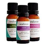 Ambienna | Paquete Relajación, 3 Aceites Esenciales 15 ml, Lavanda, Romero y Geranio Palmarosa - 100% natural y 100% puro…