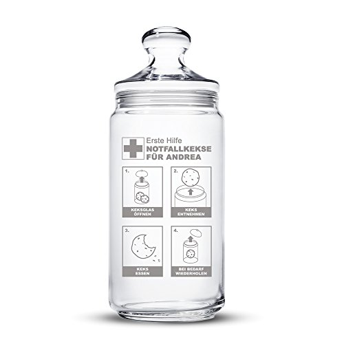 Casa Vivente Keksglas mit Gravur und Deckel – Notfallkekse – Personalisiert mit [Namen] – Keksdose – Vorratsglas – Aufbewahrungsglas – Geschenkidee zum Geburtstag – Geschenke für Frauen und Männer