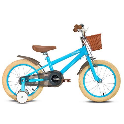 STITCH Bicicleta infantil de 40,6 cm para niñas y niños de 4 a 6 años de edad, bicicleta infantil de 40,6 cm con ruedas de entrenamiento y frenos de mano, color azul