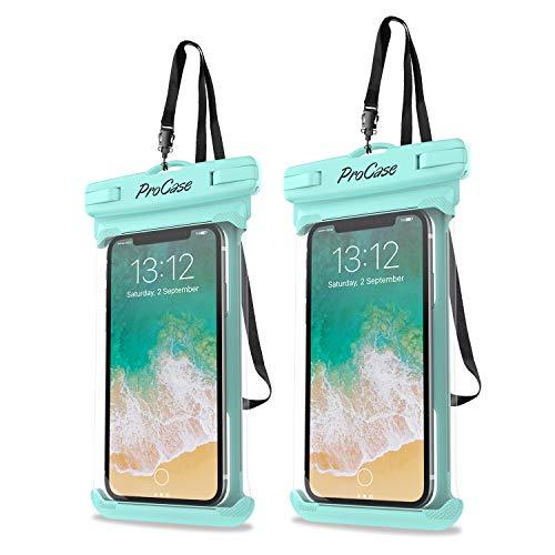ProCase 2 Fundas Impermeables para Celulares como iPhone 12 Mini/Pro/Pro MAX/SE 2020/X/8 7 Plus/6S/6/6S Plus, Galaxy S20/S20+/S20 Ultra 5G/S9/S8 Plus/Note, Huawei Xiaomi Móviles hasta 6.9'-Verde