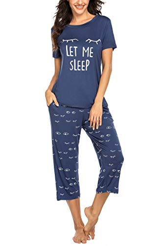 Balancora Pyjama Damen Kurze Ärmel Schlafanzug Set Süße Mode Nachtwäsche Streifen Lang Hose Zweiteiliger S Blau