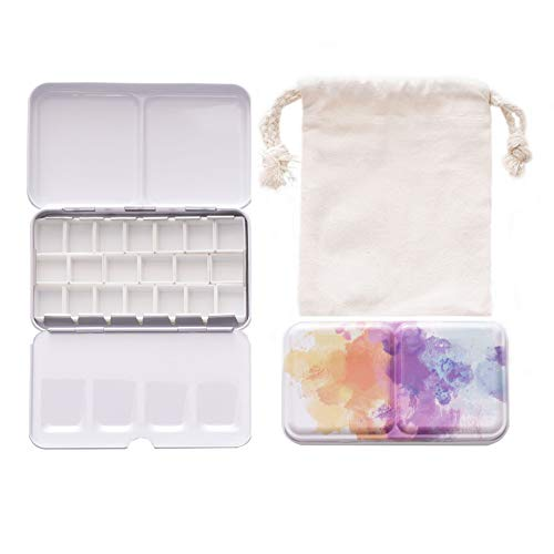 Watercolor Paint Palette with 20 Pcs Pre-Assembled Half Pans and a Cotton Drawstring Bag Empty Travel Painting Box Portable Tin with Lid Metal Mixing Tray Case for Artist