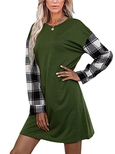 datasy Sukienka damska z dzianiny, z długim rękawem, w kratkę, z kapturem, sukienka z dzianiny, na jesień, oversize, tunika, sukienka bożonarodzeniowa, sweter, bluza, zielony, M