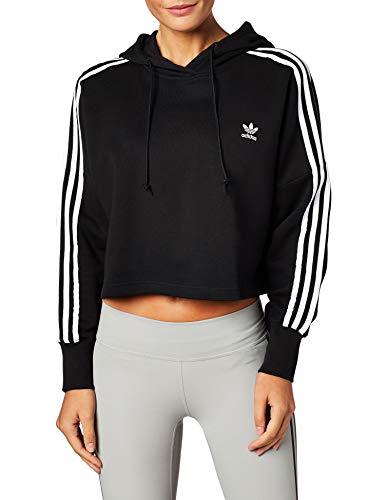 Adidas Cropped Hoodie Sweatshirts, Mujer, Black, 34