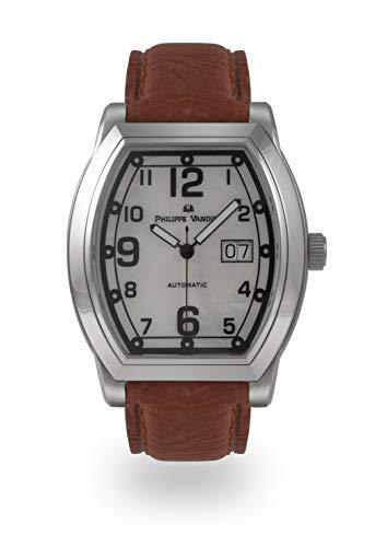 Philippe Vandier Reloj Hombre Swiss Made Tunneau Steel Movimiento Automático Suizo Calibre ETA 2896 Correa de Piel y Cristal Mineral en Bisel y Zafiro Fondo de Caja