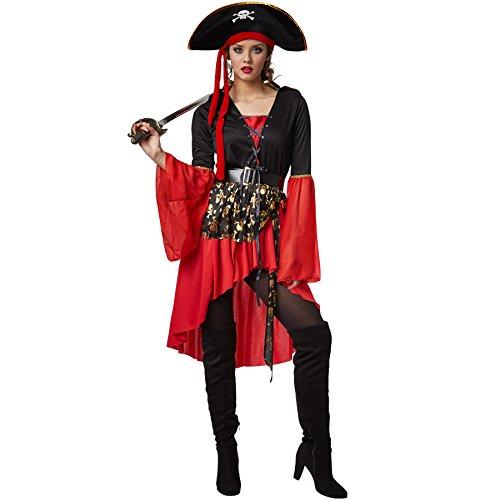 TecTake dressforfun Frauenkostüm Piratenkönigin | Kleid im Vokuhila-Stil | Inkl. Zweispitz und Gürtel (XL | Nr. 301777)