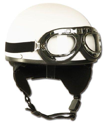 Mil-Tec Casco de moto con gafas Retro Vintage (Blanco/S)