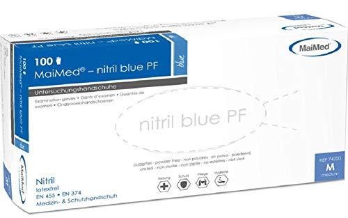Maimed Nitrilhandschuhe, Blau, Gr. M, 100 Stück Nitril Handschuhe