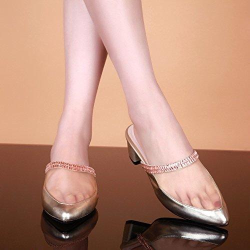 AWXJX été Tongs Femme Chaussures Baotou Similicuir Fait avec épais de Diahommets artificiels Les vêtements d'Extérieur