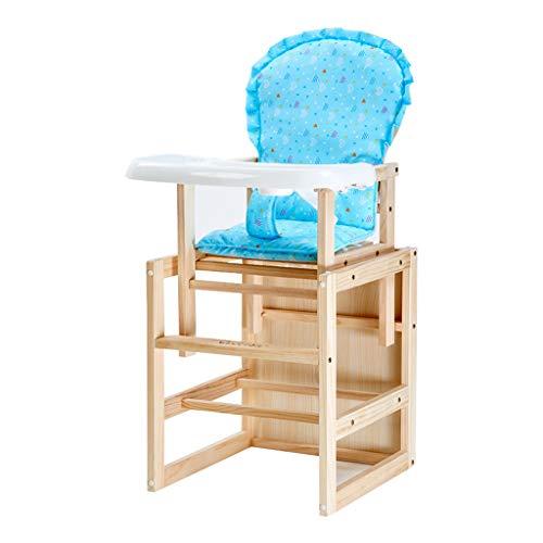 Pliable en Bois Chaise Haute Portable Multifonction Chaise de Salle à Manger pour bébé avec Ceinture et Coussin, Structure Ultra-Stable Facile à Nettoyer