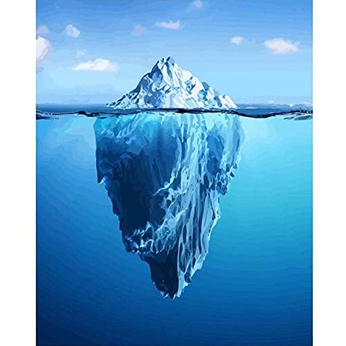 Pintar por Números Kits,Pintar por Numeros para Adultos Niños iceberg DIY Conjunto Completo de Pinturas para el Hogar Decoraciones-With_Framed_50x65cm E924
