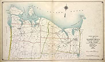 Historic Map - 1915 Suffolk County, New York (N.Y.), Index Map No. 1 of a part of Suffolk County. North Side - Sound Shore, Long Island. Huntington and Smith Town. - Vintage Wall Décor - 60in x 36in