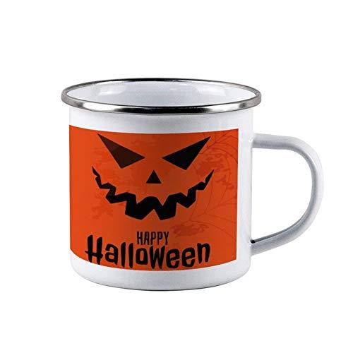Tazas de acero esmaltado Orange Symbol Happy Halloween, tazas de lata de café de viaje esmaltadas para acampar, tazas duraderas para fogatas al aire libre con asa para niños, hombres, padres, acción d
