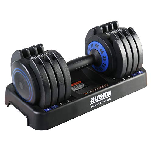AyeKu Adjustable Dumbbell - Quick Weight Adjust by a Single Hand roatting from 11-22-33-44-55lb, Combines Five Weights into one for Multiple use of Strength Training at Home Gym (Blue Single)