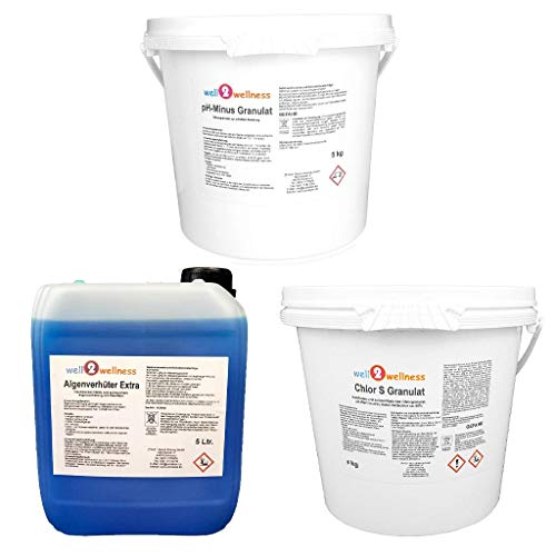 well2wellness Pool Starterset Wasserpflege Set 3-teilig mit Chlorgranulat 5kg, pH-Minus Granulat 5kg und Algenverhüter Extra 5l