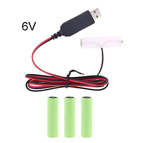 S-TROUBLE Eliminador de batería AA LR6 Cable de Fuente de alimentación USB...