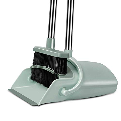 Chouqing Dust Pan and Broom, Self-Cleaning with Dustpan Teeth, Ideal for Dog Cat Pets Home Use, Super Long Handle Upright Stand Up Broom and Dustpan Set (Jade Green)