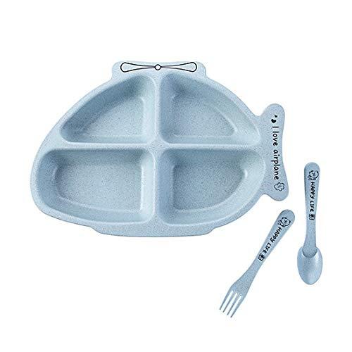 CHENC Fanh - Fiambrera para niños, diseño de conejo, con forma de avión, platos de comida con tenedor, cuchara y platos para niños (color: Ariplane azul)