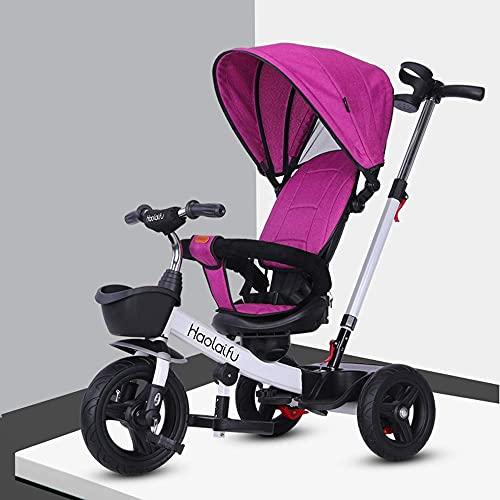 NBgycheche Triciclo Trike Triciclo, Triciclo de 15 años, Asientos Ajustables, el émbolo móvil y la Parte Superior, un Pedal Plegable (Color: Rojo) (Color : Purple)