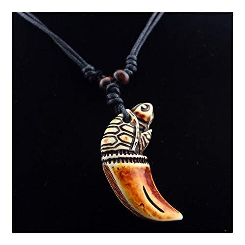 LUOSI Enfriar Hueso Tallado Encanta los Colgantes for Hombres Mujeres Elefante Colgante Cuentas de Madera Amuleto de Regalo del Collar de tiburón Lobo Collares (Color : 7, Size : 90cm)