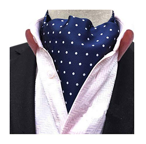 Secdtie Men's Blue Striped Polka Dot Silk Cravat Woven Ascot Jacquard Ties 017