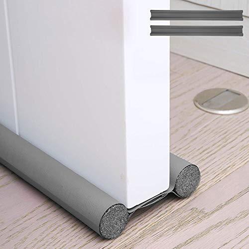 2Pcs Bas de porte double isolant, Boudin de porte anti froid, Boudin porte double isolant, Boudin protection contre courants d'air anti bruit, Joint de porte interieur universel etanche (Gris, 2Pcs)