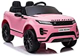 Indalchess Coche eléctrico Infantil Land Rover, Range Rover Evoque 12v, Mando RC, Rosa, 1 Plaza - LE6594