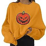 NHNKB Sudadera de Halloween para mujer, de forro polar, para otoño e invierno, gruesa, para disfraz de Halloween, C naranja., M