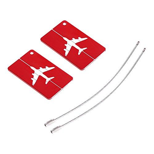 2 etiquetas de equipaje para mujer, de aluminio, para maletas, bolsas de viaje, etiquetas de identificación con lazo de acero inoxidable, color rojo