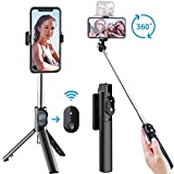 Selfie Stick Tripod, Extendable Selfie Stick with Detachable Wireless Remote and Tripod Stand Selfie Stick for iPhone 11/11 pro/X/8/8P/7/7P/6s/6,Sumsung Galaxy S9/S8/S7/Note 9/8,Huawei and More