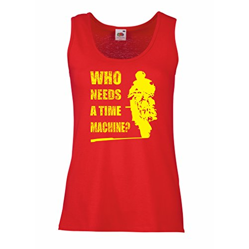 Serbatoio,Maglietta Senza Maniche Femminile Abbigliamento Moto (Large Rosso Multicolore)